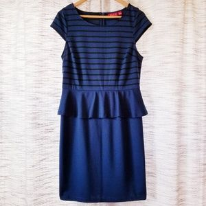 Elle Stripped Peplum Knit Dress Navy Black Medium